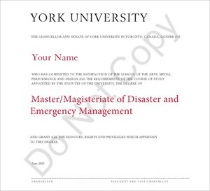 Picture of Master of Disaster and Emergency Management (graduation MA DEM prior to June 2014)